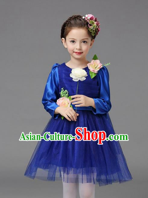 Top Grade Professional Performance Catwalks Costume, Children Chorus Compere Full Dress Modern Dance Little Princess Blue Veil Bubble Dress for Girls Kids