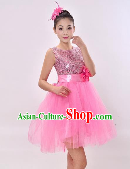 Top Grade Professional Performance Costume, China Chorus Compere Modern Dance Dress Paillette Pink Veil Bubble Dress for Women