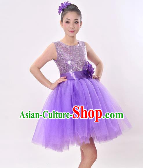 Top Grade Professional Performance Catwalks Costume, China Chorus Compere Modern Dance Dress Paillette Purple Veil Bubble Dress for Women