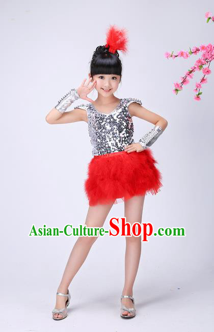 Top Grade Professional Performance Catwalks Costume, Children Chorus Compere Modern Dance Uniform Red Paillette Short Dress for Girls
