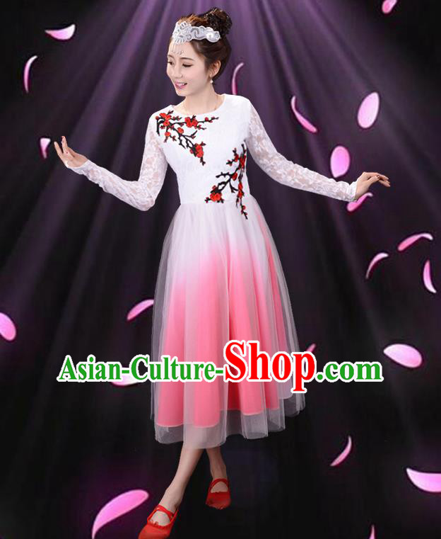 Top Grade Professional Compere Modern Dance Costume, Women Opening Dance Chorus Singing Group Uniforms Plum Blossom Dress for Women