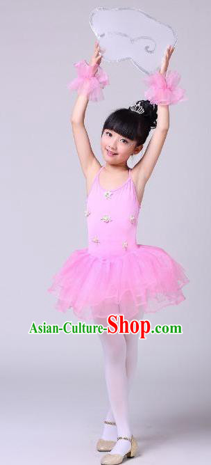 Top Grade Professional Compere Modern Dance Costume, Children Opening Dance Chorus Uniforms Ballet Dance Pink Bubble Dress for Girls