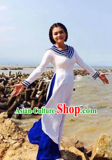 Traditional Top Grade Asian Vietnamese Costumes Classical Cheongsam, Vietnam National Vietnamese Young Lady Ao Dai Dress