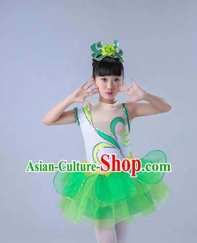 Top Grade Professional Compere Modern Dance Costume, Children Opening Dance Chorus Uniforms Jazz Dance Paillette Green Bubble Dress for Girls