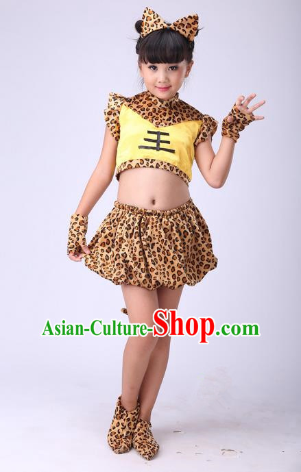 Top Grade Professional Performance Modern Dance Costume, Children Cosplay Tiger Dance Uniforms for Girls
