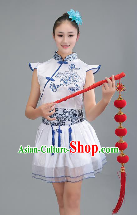 Top Grade Professional Compere Modern Dance Costume, Women Opening Dance Chorus Singing Group Uniforms Blue and White Porcelain Long Dress for Women