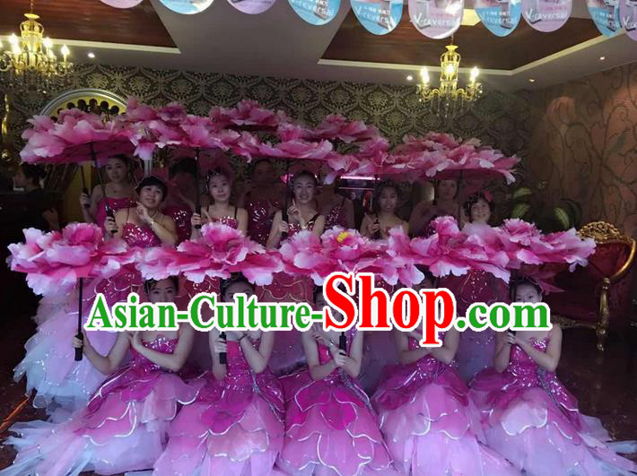 Traditional Chinese Modern Dancing Costume, Women Opening Classic Chorus Singing Group Dance Flowers Costume, Folk Dance Modern Dance Long Peony Dress for Women