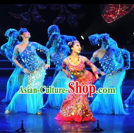 Traditional Chinese Dai Nationality Peacock Dancing Costume, Fish Dance Costume, Chinese Minority Nationality Dance Dress for Women