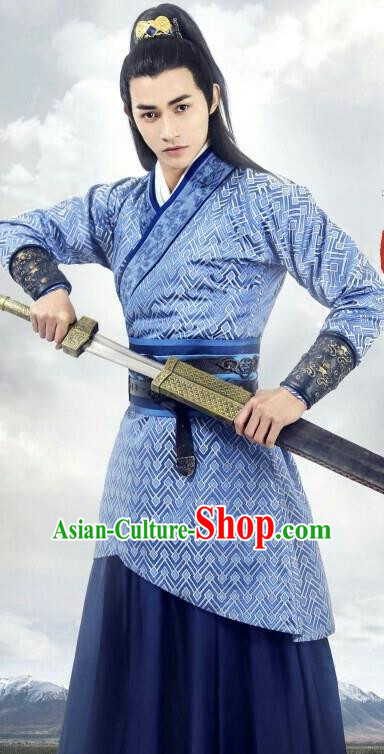 Traditional Chinese Ancient Warring States Time Palace Swordsman Costume, China Television Song of Phoenix Prince Clothing and Headwear Complete Set for Men