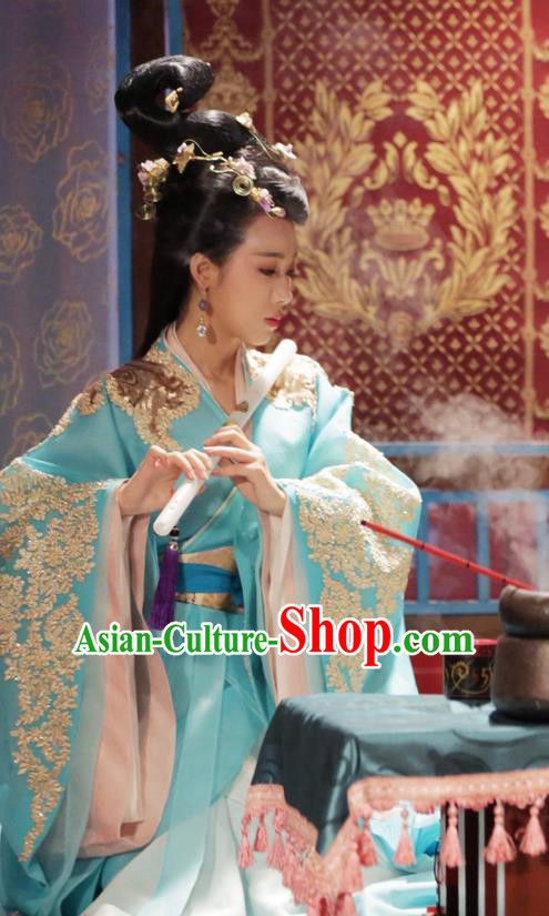 Traditional Chinese Ancient Warring States Time Imperial Concubine Embroidered Costume, China Television Song of Phoenix Imperial Consort Hanfu Dance Clothing and Headwear Complete Set