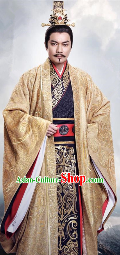 Traditional Chinese Ancient Warring States Time Imperial Majesty Costume, Song of Phoenix Palace Emperor King Hanfu Clothing and Handmade Headpiece Complete Set for Men