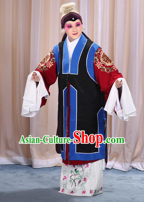 Traditional Chinese Beijing Opera Old Female Black Vest and Robes Complete Set, China Peking Opera Pantaloon Costume Embroidered Clothing Opera Costumes