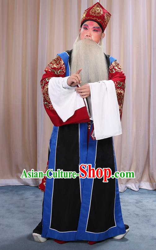 Traditional Chinese Beijing Opera Old Male Black Long Vest and Clothing Complete Set, China Peking Opera Laosheng-role Costume Embroidered Clothing Opera Costumes