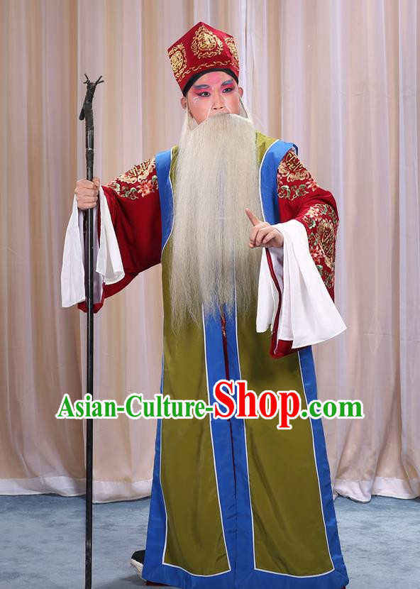 Traditional Chinese Beijing Opera Old Male Green Long Vest and Clothing Complete Set, China Peking Opera Laosheng-role Costume Embroidered Clothing Opera Costumes