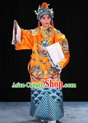 Traditional Chinese Beijing Opera Male Bright Yellow Clothing and Belts Complete Set, China Peking Opera His Royal Highness Costume Embroidered Robe Opera Costumes