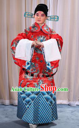 Traditional Chinese Beijing Opera Male Red Clothing and Belts Complete Set, China Peking Opera His Royal Highness Costume Embroidered Robe Opera Costumes