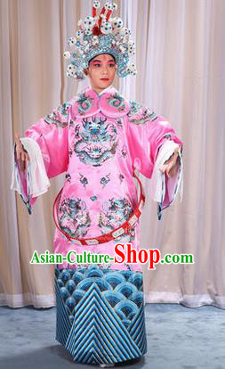 Traditional Chinese Beijing Opera Male Pink Clothing and Belts Complete Set, China Peking Opera His Royal Highness Costume Embroidered Robe Opera Costumes