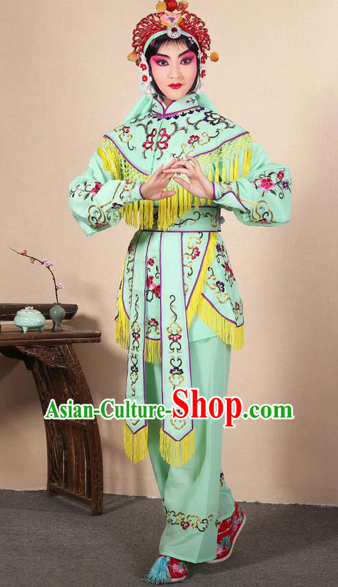 Traditional Chinese Beijing Opera Shaoxing Opera Magic Warriors Green Clothing and Shoes Complete Set, China Peking Opera Women Pawn Dress Costume Embroidered Opera Costumes