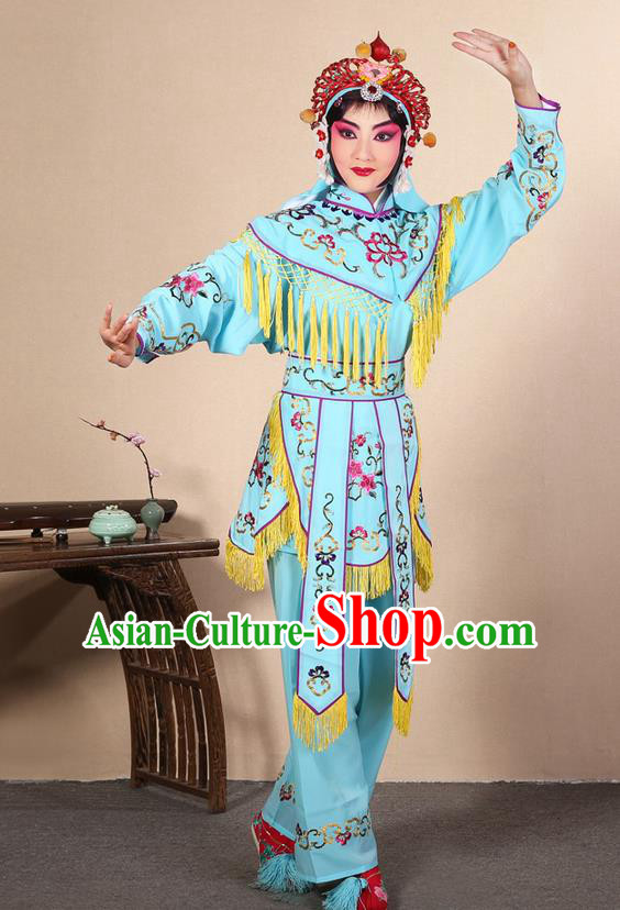 Traditional Chinese Beijing Opera Shaoxing Opera Magic Warriors Light Blue Clothing and Shoes Complete Set, China Peking Opera Women Pawn Dress Costume Embroidered Opera Costumes