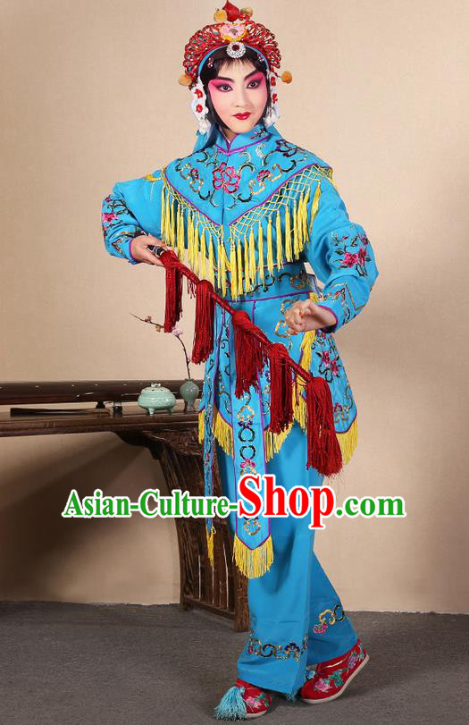 Traditional Chinese Beijing Opera Shaoxing Opera Magic Warriors Blue Clothing and Shoes Complete Set, China Peking Opera Women Pawn Dress Costume Embroidered Opera Costumes