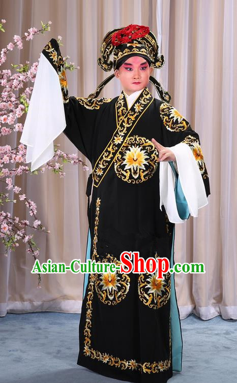 Traditional Chinese Beijing Opera Takefu Black Clothing Complete Set, China Peking Opera Martial General Role Costume Embroidered Opera Costumes