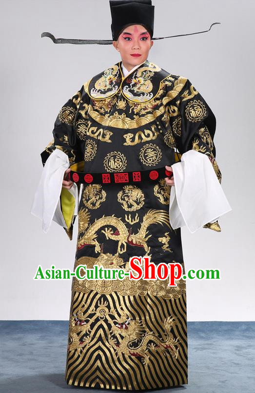 Traditional Chinese Beijing Opera Male Clothing and Shoes Complete Set, China Peking Opera Bao Zheng Costume Embroidered Robe Opera Costumes