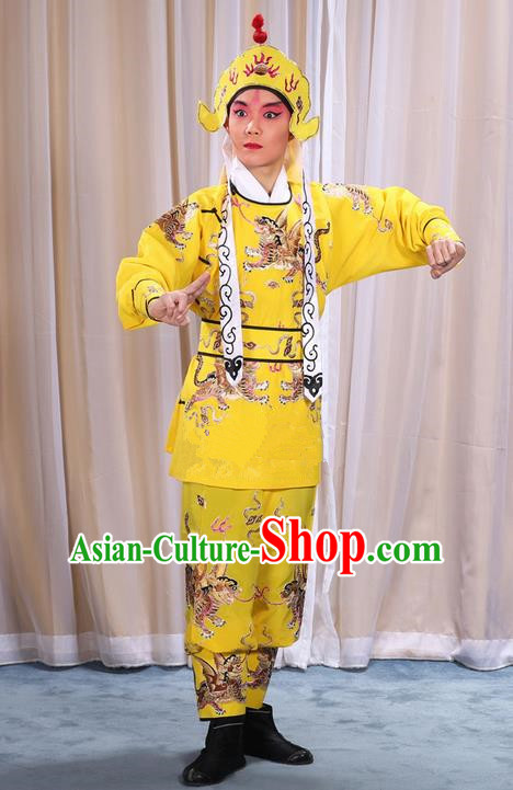Traditional Chinese Beijing Opera Takefu Yellow Pawn Clothing Complete Set, China Peking Opera Martial Role Costume Embroidered Opera Costumes