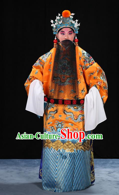 Traditional Chinese Beijing Opera Male Yellow Clothing and Belts Complete Set, China Peking Opera His Royal Highness Costume Embroidered Robe Dragon robe Opera Costumes
