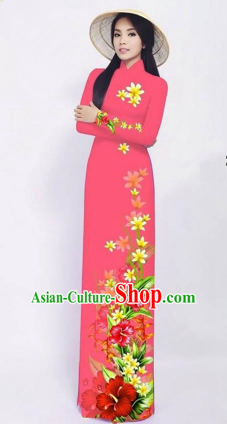 Traditional Top Grade Asian Vietnamese Jing Nationality Ha Festival Long Ao Dai Dress, Vietnam National Bride Printing Pink Cheongsam Costumes for Women
