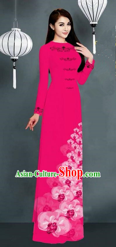 Traditional Top Grade Asian Vietnamese Jing Nationality Ha Festival Long Ao Dai Dress, Vietnam National Bride Printing Rosy Stand Collar Cheongsam Costumes for Women