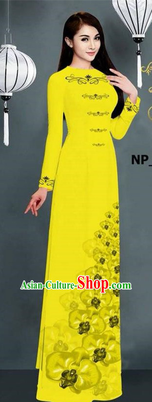 Traditional Top Grade Asian Vietnamese Jing Nationality Ha Festival Long Ao Dai Dress, Vietnam National Bride Printing Yellow Stand Collar Cheongsam Costumes for Women