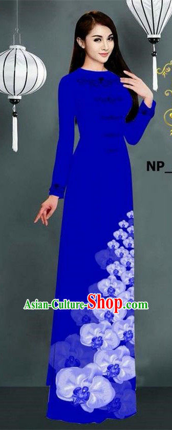 Traditional Top Grade Asian Vietnamese Jing Nationality Ha Festival Long Ao Dai Dress, Vietnam National Bride Printing Royalblue Stand Collar Cheongsam Costumes for Women