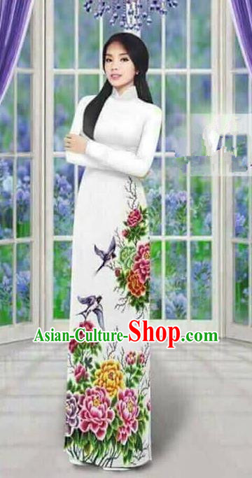 Traditional Top Grade Asian Vietnamese Ha Festival Long Ao Dai Dress, Vietnam National Jing Nationality Printing Peony Cheongsam Costumes for Women
