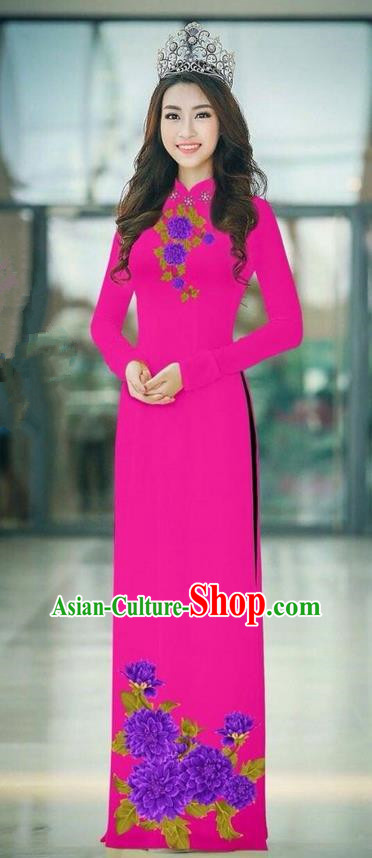 Traditional Top Grade Asian Vietnamese Ha Festival Rosy Long Ao Dai Dress, Vietnam National Jing Nationality Printing Cheongsam Costumes for Women