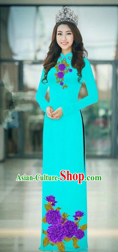 Traditional Top Grade Asian Vietnamese Ha Festival Blue Long Ao Dai Dress, Vietnam National Jing Nationality Printing Cheongsam Costumes for Women