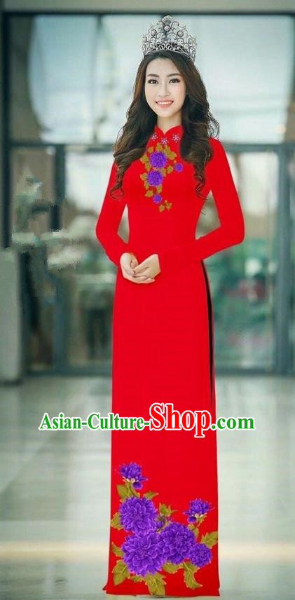 Traditional Top Grade Asian Vietnamese Ha Festival Red Long Ao Dai Dress, Vietnam National Jing Nationality Printing Cheongsam Costumes for Women
