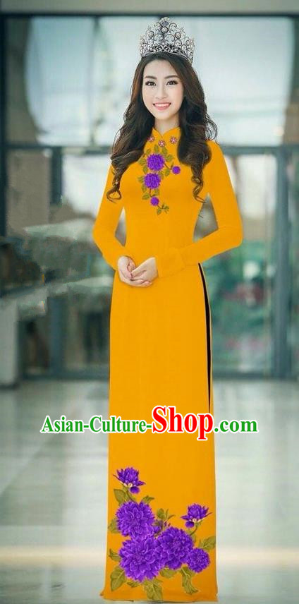 Traditional Top Grade Asian Vietnamese Ha Festival Ginger Long Ao Dai Dress, Vietnam National Jing Nationality Printing Cheongsam Costumes for Women