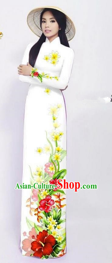 Traditional Top Grade Asian Vietnamese Ha Festival Long Ao Dai Dress and Pants, Vietnam National Jing Nationality Printing White Cheongsam Costumes for Women