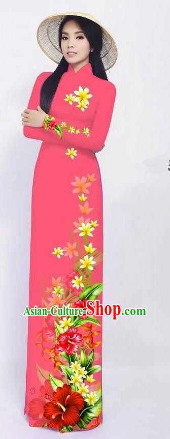 Traditional Top Grade Asian Vietnamese Ha Festival Long Ao Dai Dress and Pants, Vietnam National Jing Nationality Printing Pink Cheongsam Costumes for Women