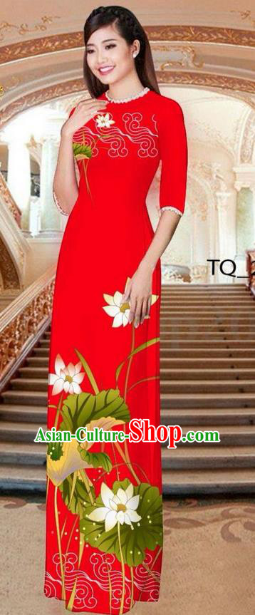 Traditional Top Grade Asian Vietnamese Ha Festival Long Red Ao Dai Dress, Vietnam National Jing Nationality Printing Lotus Cheongsam Costumes for Women