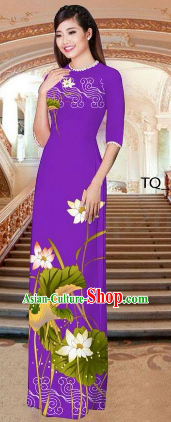 Traditional Top Grade Asian Vietnamese Ha Festival Long Purple Ao Dai Dress, Vietnam National Jing Nationality Printing Lotus Cheongsam Costumes for Women