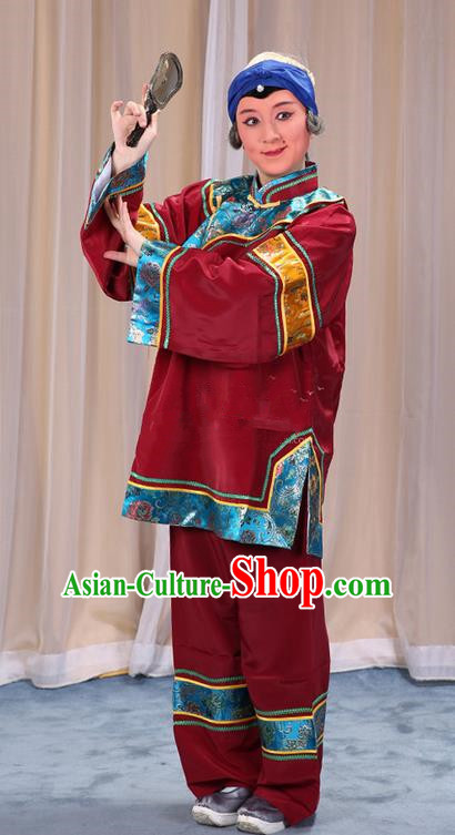 Traditional Chinese Beijing Opera Old Female Purplish Red Clothing and Shoes Headwear Complete Set, China Peking Opera Woman Matchmaker Costume Embroidered Opera Costumes