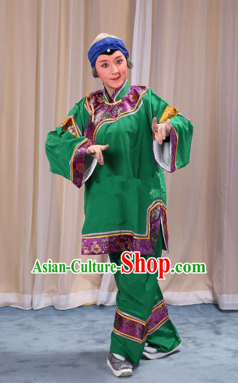 Traditional Chinese Beijing Opera Old Female Green Clothing and Shoes Headwear Complete Set, China Peking Opera Woman Matchmaker Costume Embroidered Opera Costumes