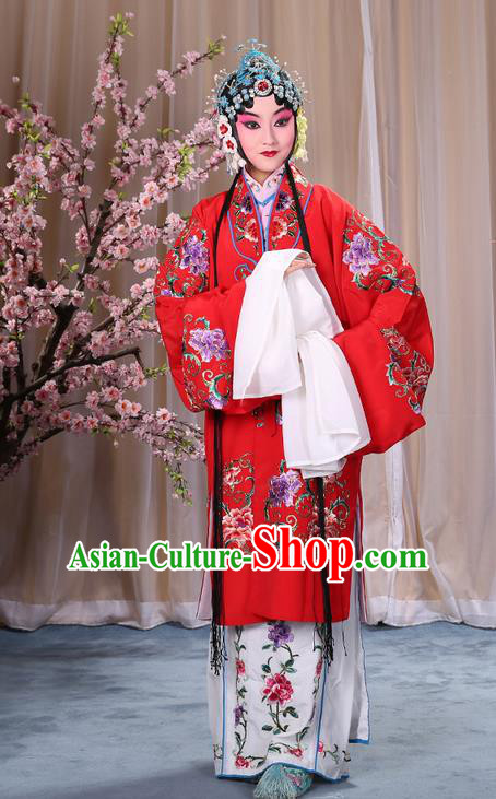 Traditional Chinese Beijing Opera Shaoxing Opera Young Female Red Clothing and Headwear Shoes Complete Set, China Peking Opera Diva Role Hua Tan Costume Embroidered Opera Bride Costumes
