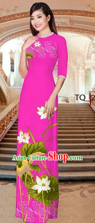 Traditional Top Grade Asian Vietnamese Ha Festival Long Rosy Ao Dai Dress, Vietnam National Jing Nationality Printing Lotus Cheongsam Costumes for Women