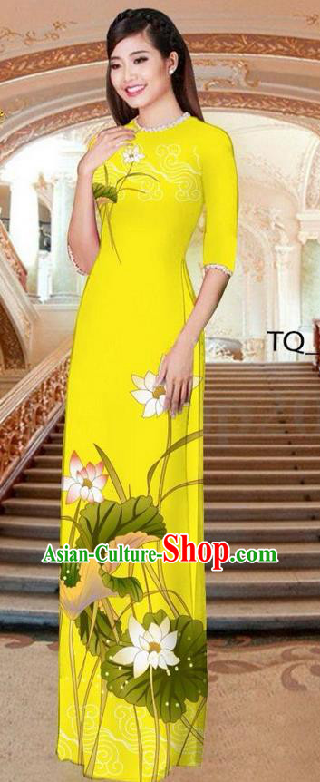 Traditional Top Grade Asian Vietnamese Ha Festival Long Yellow Ao Dai Dress, Vietnam National Jing Nationality Printing Lotus Cheongsam Costumes for Women