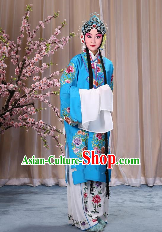 Traditional Chinese Beijing Opera Shaoxing Opera Young Female Blue Clothing and Headwear Shoes Complete Set, China Peking Opera Diva Role Hua Tan Costume Embroidered Opera Bride Costumes