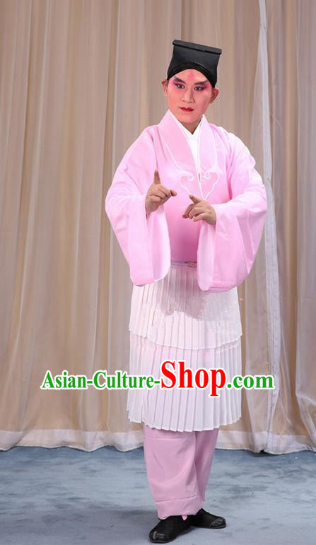 Traditional Chinese Beijing Opera Clown Pink Clothing and Shoes Headwear Complete Set, China Peking Opera Miscellaneous Affairs Costume Opera Wu Dalang Costumes