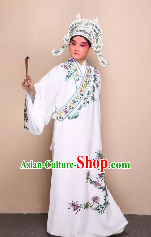 Traditional Chinese Beijing Opera Niche White Dress Clothing Complete Set, China Peking Opera Young Man Costume Embroidered Chrysanthemum Robe Opera Costumes