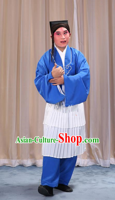 Traditional Chinese Beijing Opera Clown Blue Clothing and Shoes Headwear Complete Set, China Peking Opera Miscellaneous Affairs Costume Opera Wu Dalang Costumes